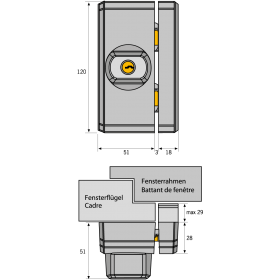 Serrure supplémentaire pour fenêtres et portes FTS 96